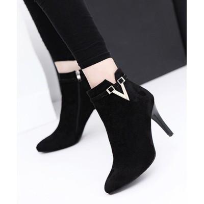 STYLEBLOCK / Vカットサイドファスナーピンヒールショートブーツ WOMEN シューズ > ブーツ