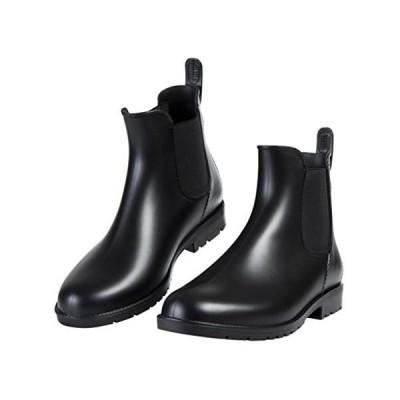 [Shevalues] レディース&メンズ レインシューズ ショートブーツ 無地 大きいサイズ サイドゴア (ブラック 25.5 cm E)