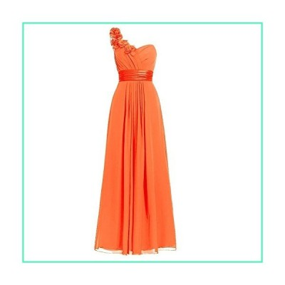 H.S.D Women's Simple Floral One Shoulder Long Bridesmaid Dresses Prom Gowns Orange並行輸入品