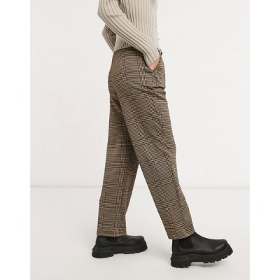 ストラディバリウス Stradivarius レディース ボトムス・パンツ Elasticated Waist Trousers In Brown Check ブラウン