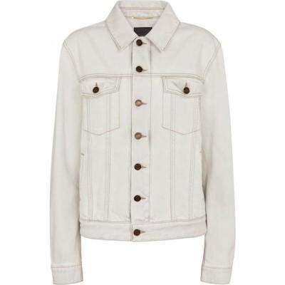 イヴ サンローラン Saint Laurent レディース ジャケット デニムジャケット アウター denim jacket Grey Off White