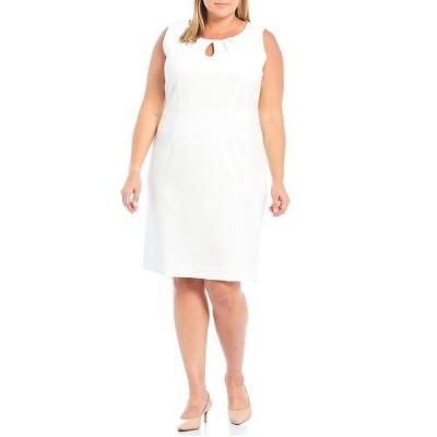カスパー レディース ワンピース トップス Plus Size Textured Pique Keyhole Pleat Neck Sheath Dress Lily White
