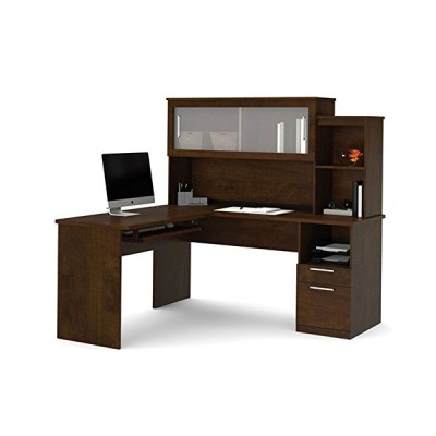 "新品 Sutton L-Shaped Desk w/Hutch - 63""W x 65""D x 63""H Chocolate Dimensions: 62.6""W x 65""D x 62.8""H Weight: 261 lbs"