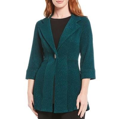 エババーロ レディース ジャケット&ブルゾン アウター 3/4 Sleeve Empire Waist One Button Jacket Deep Green Pebbles/Deep Green