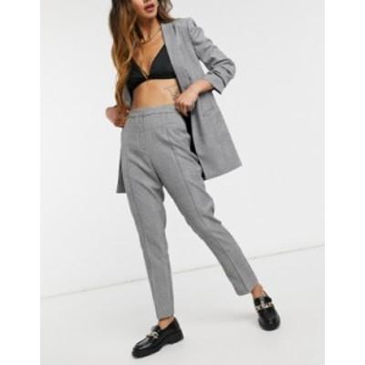 エイソス レディース カジュアルパンツ ボトムス ASOS DESIGN tailored smart mix & match cigarette suit pants in mono plaid Check