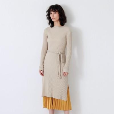 プリーツ レイヤード ニット ドレス