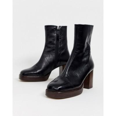 エイソス レディース ブーツ・レインブーツ シューズ ASOS DESIGN Reunion premium leather platform boots in black
