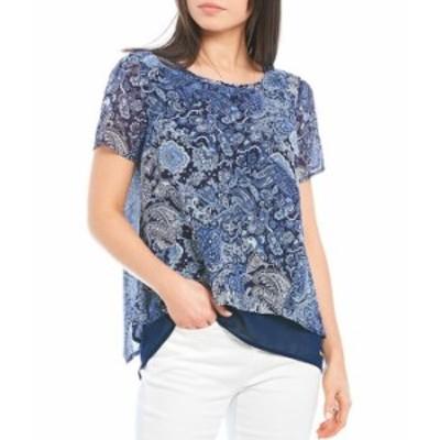 マイケルコース レディース シャツ トップス MICHAEL Michael Kors Arabesque Paisley Print Layered Georgette Short Sleeve Hi-Low Top