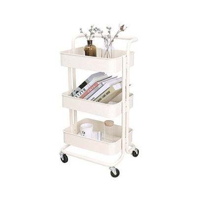 3-Tier Metal Mesh Storage Utility Cart with Brake Caster Wheels, Rolling Cart with Removable Handle, Beige【並行輸入品】