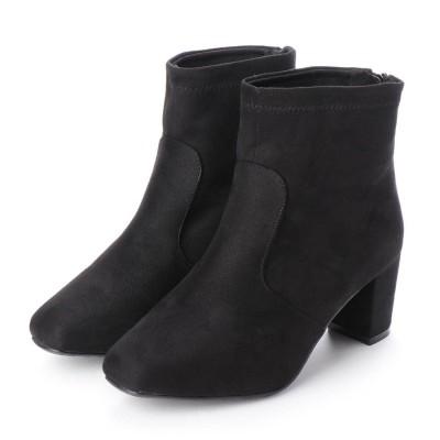 マシュガール masyugirl 【4E/幅広ゆったり・大きいサイズの靴】 6.5cmヒールのストレッチショートブーツ (ブラックスエード) SOROTTO