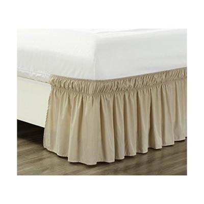 """(新品) Wrap Around 21"""" inch Long Fall Ivory/Beige Ruffled Elastic Solid Bed Skirt Fits All Twin, Twin XL and Full Size Bedding High Th"""