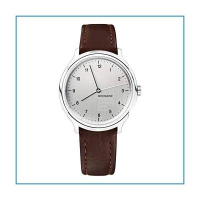 新品Mondaine Helvetica No 1 腕時計 メンズ (モデル:MH1.R3610.LG) スイス製 ブラウンレザーストラップ シルバース