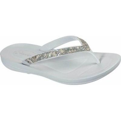 スケッチャーズ レディース サンダル シューズ Women's Skechers Bungalow Coral Gem Vegan Flip Flop Light Gray