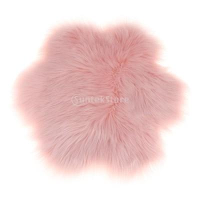 人工シープスキン ソフト マット エリアラグ 小面積 カーペット 家飾り 寒い冬 暖かい 手触り 多色選べる - ライトピンク