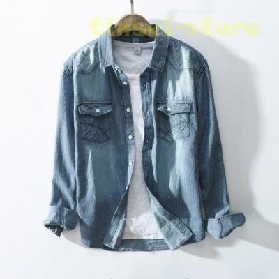 デニムシャツ メンズ 長袖 カジュアルシャツ ストライプ 加工 ウォッシュ加工 スリム ダンガリーシャツ 綿100%