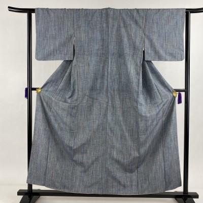 紬 優品 縦縞 青灰色 袷 身丈157.5cm 裄丈62.5cm S 正絹 中古