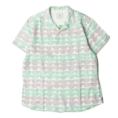 トゥーサーズ TWOTHIRDS Lazarev Sea 総柄プリントオープンカラーシャツ S グリーン 半袖 コットン トップス