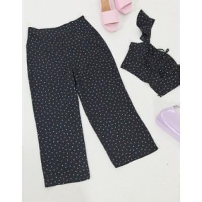 エイソス レディース カジュアルパンツ ボトムス ASOS DESIGN wide leg pants in polka dot  two-piece Multi