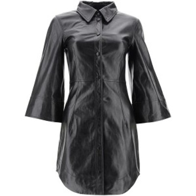 GANNI/ガニー レザーワンピース BLACK Ganni leather mini dress レディース 秋冬2020 F5003 ik