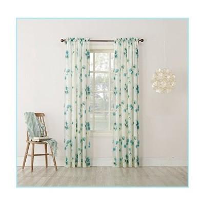 """新品No. 918 Kiki Floral Print Crushed Sheer Voile Rod Pocket Curtain Panel, 51"""" x 84"""", Aegean Blue"""