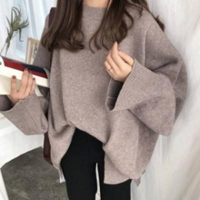冬新作 ニット 大きいサイズ 冬物 冬服 ニットソー ニットセーター トップス セーター オルチャン レディース ゆったり 韓国