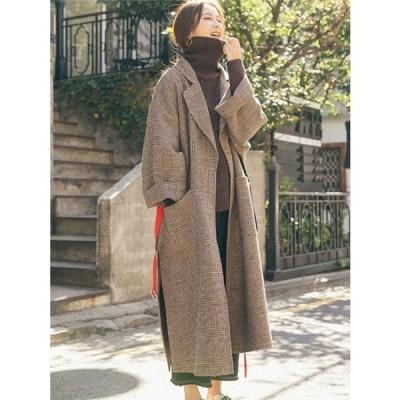 コート レディース 40代 50代 アウター ウール混コート スプリングコート Aライン オシャレ OL 通勤 大きいサイズ 秋冬 WD-027
