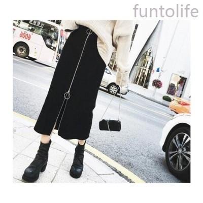 スカートロングスカートタイトスカートフロントファスナーボトムリングジップ韓国ファッション