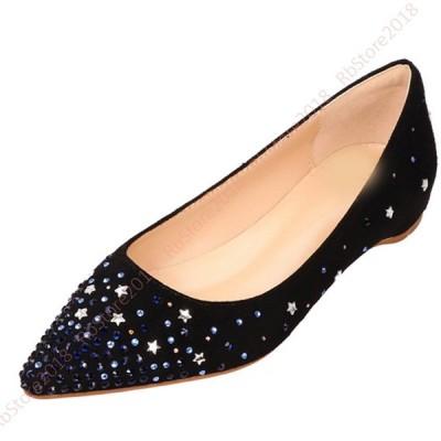 低反発 パンプス 走れるパンプス レディース スパンコール ファッションシューズ 婦人靴 ペタンコ ポインテッドトゥ シューズ レディース ローヒール パンプス