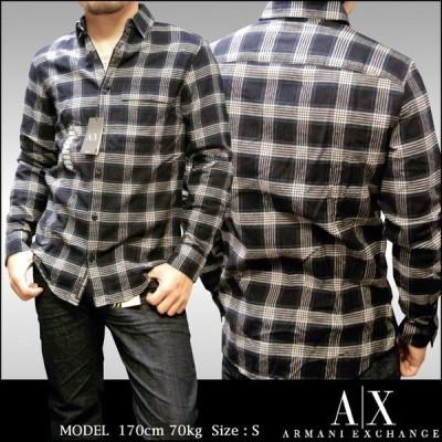 A|X Armani Exchange アルマーニエクスチェンジ メンズ 長袖 ネルシャツ ボタンシャツ ブラック アメカジ イタカジ アウター セレカジ インポート 002