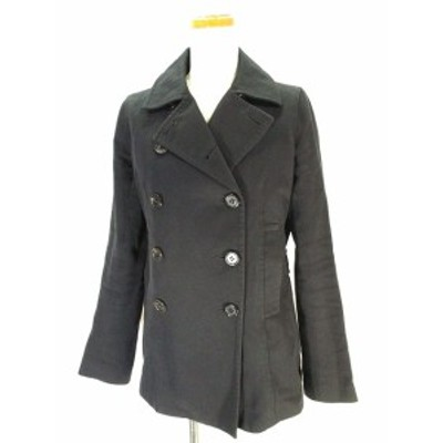【中古】マカフィー MACPHEE トゥモローランド ショート トレンチ コート ダブル ジャケット 無地 40 ブラック 黒