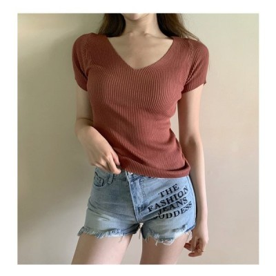 ブラウスレディーストップス半袖夏vネックフリーサイズ通勤無地10色シンプルなファッション着痩せニット薄い普段着