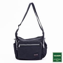 YESON -台灣精品機能輕量多口袋尼龍防潑水斜背包-黑
