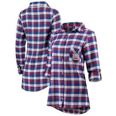 コンセプトスポーツ シャツ トップス レディース New York Giants Concepts Sport Women's Piedmont Flannel Button-Up Long Sleeve Shirt Royal/Red