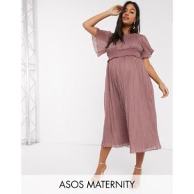 エイソス レディース ワンピース トップス ASOS DESIGN Maternity bardot shirred midi dress in heather Heather