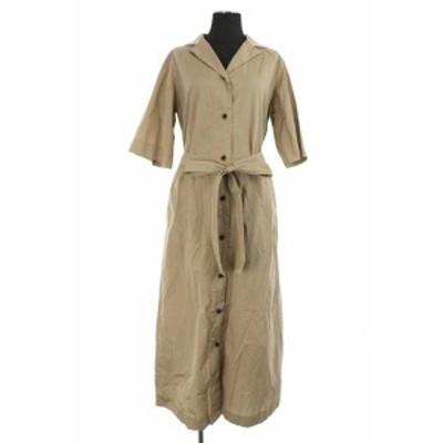 【中古】フランネル Phlannel 18SS Cotton Open Collared Long Shirt Dress ワンピース シャツ 0 ベージュ /YS ■OS