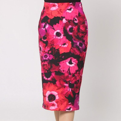 ゲス GUESS SHAINE HIGH-RISE TOSSED POPPY MIDI SKIRT (TOSSED POPPY JET BLACK)