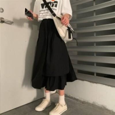 韓国 ファッション レディース スカート ロング アシンメトリー ハイウエスト Aライン オルチャン 無地 おしゃれ カジュアル