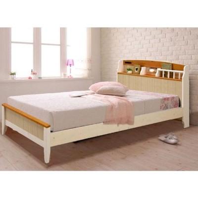 フレンチカントリー風のかわいいパイン材の宮付き、照明付き、コンセント付きシングルベッド