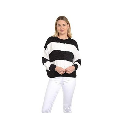 Knit Minded Junior Chenille Cable Stitch Front and Sleeves, Long Sleeve Swe