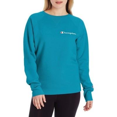 チャンピオン パーカー・スウェットシャツ アウター レディース Champion Women's Powerblend Left Chest Logo Crew Sweatshirt RockinTeal