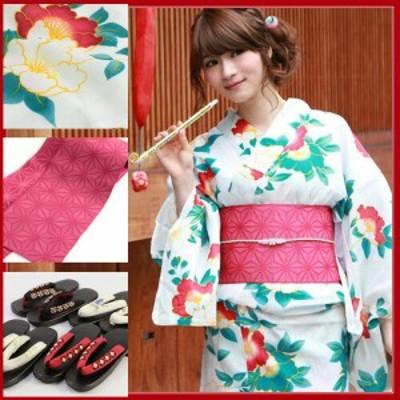 浴衣 セット レディース レトロ  高級綿麻浴衣3点セット「白地に赤椿に花」