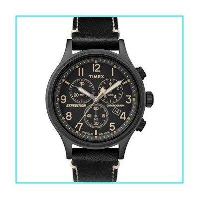 Timex Men's Expedition Scout Chrono Analog Quartz Leather Strap, Black, 20 Casual Watch (Model: TW4B09100ZA)【並行輸入品】