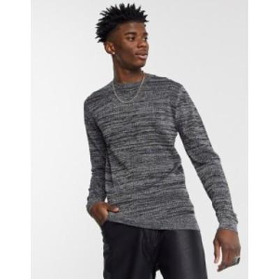 エイソス メンズ ニット・セーター アウター ASOS DESIGN knitted mesh sweater in silver metallic yarn Silver