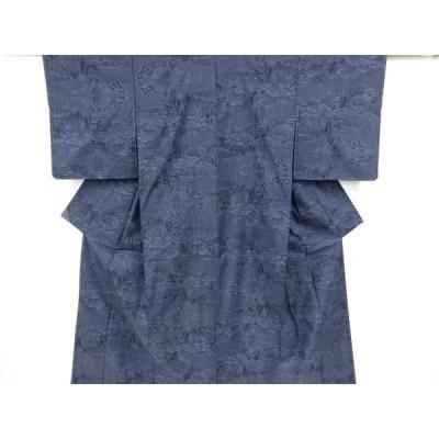 宗sou 未使用品 樹木風景模様織り出し本場泥大島紬着物(5マルキ)【リサイクル】【着】