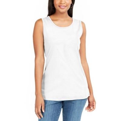 ケレンスコット カットソー トップス レディース Cotton Sleeveless Split Hem Top, Created for Macy's Bright White
