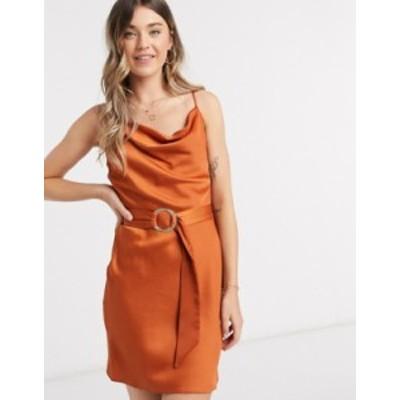リバーアイランド レディース ワンピース トップス River Island satin belted mini slip dress in rust Rust