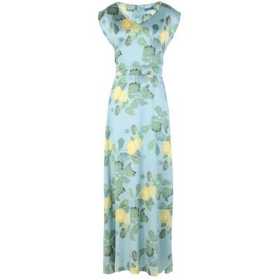 MONIKA VARGA ロングワンピース&ドレス スカイブルー 40 シルク 95% / ポリウレタン 5% ロングワンピース&ドレス