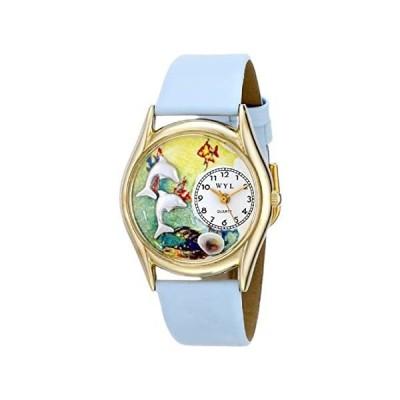 【新品・送料無料】Whimsical Watches Kids' C0140007 Classic Gold Dolphin Light Blue Leather An