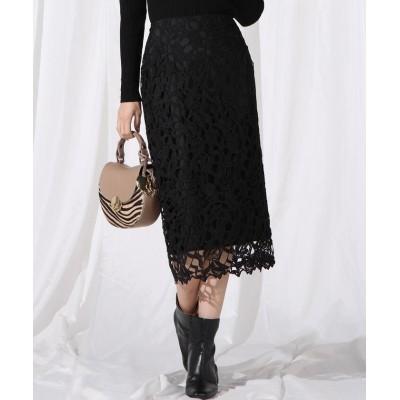【クイーンズ コート】 チューリップケミカルレースタイトスカート レディース ブラック M QUEENS COURT