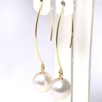 あこや真珠マーキスデザイン フックパールピアス ホワイト系 8.5-9.0mm BBB  K18 ゴールド [n4]